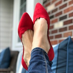 Shoes - 5⭐️'Carolina' Red Vegan Suede Scalloped Edge Flats